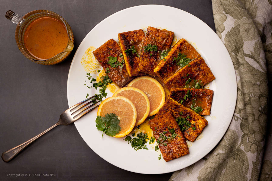Tofu with Warm Spices & Orange Reduction